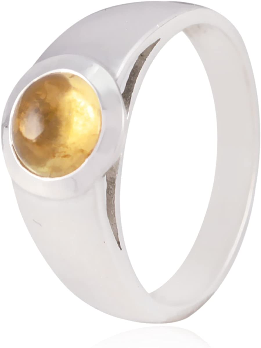 Good Gemstones Round cabochon Citrine Ring 925 Silver Yellow Citrine Good Gemstones Ring wholesales Jewelry Gift for Mothers Day Wave