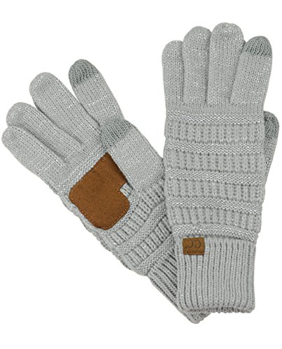 C.C Unisex Cable Knit Winter Warm Anti-Slip Touchscreen Texting Gloves, Metallic Silver (Suede Unisex Glove)