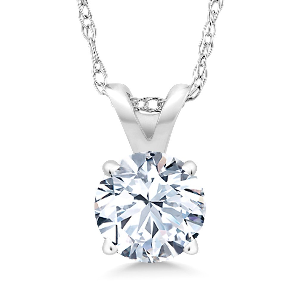 1.20 Ct White Created Sapphire 14K White Gold Pendant With Chain