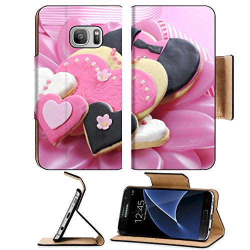 Br Biscuit (Liili Premium Samsung Galaxy S7 Flip Pu Leather Wallet Case IMAGE ID: 29495016 Delicious wedding party bride and groom pink white and black heart shape biscuit cookies br)