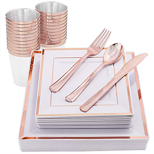 (IOOOOO 150 Pieces Rose Gold Plates & Disposable Silverware & Cups, Premium Plastic Square Dinnerware Include: 25 Dinner Plates, 25 Dessert Plates, 25 Forks, 25 Knives, 25 Spoons, 25 Tumblers 10 OZ)