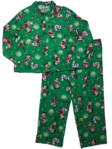 - Betty Boop Womens Green Santa Christmas Holiday Flannel Pajamas Sleep Set XXL