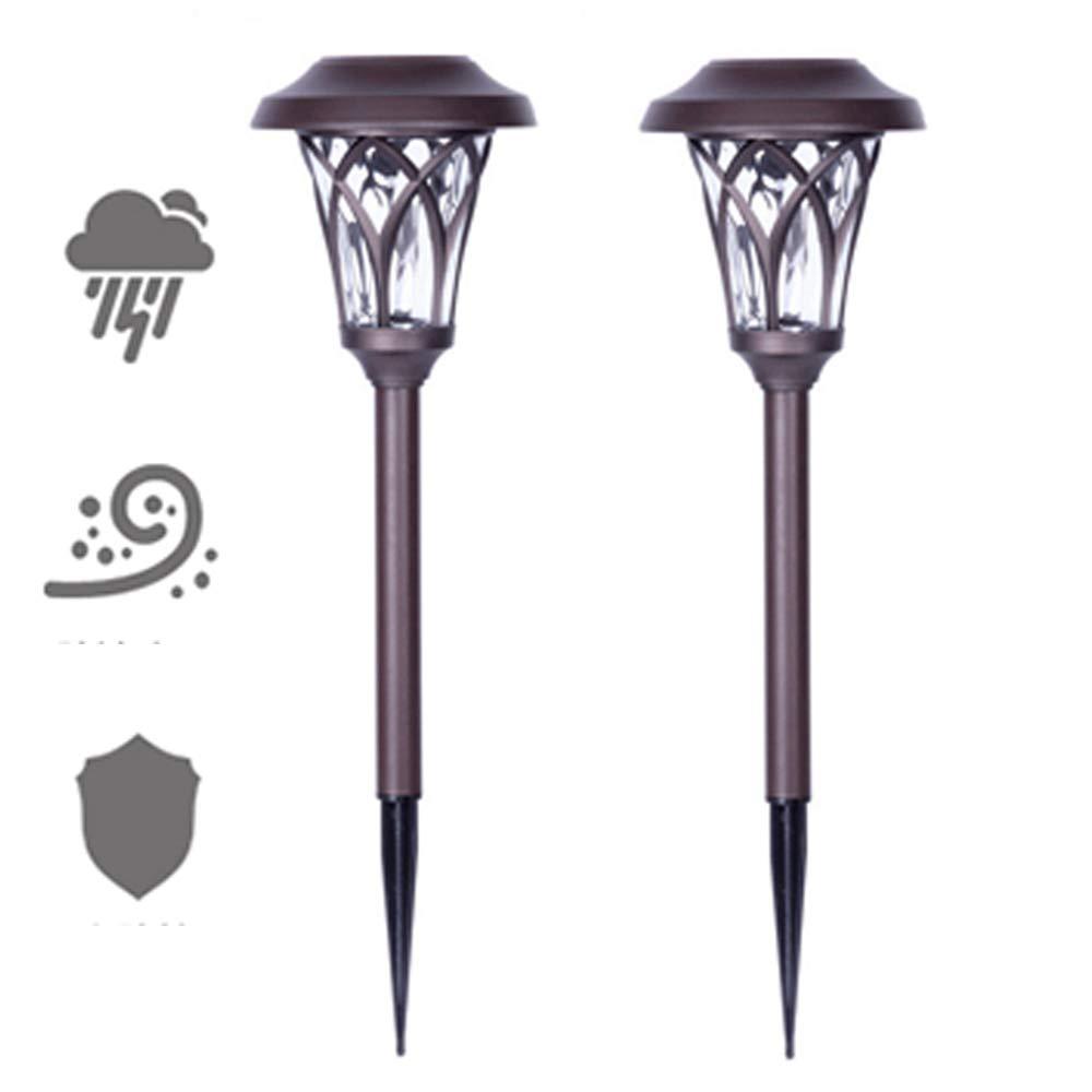 ソーラー芝生ライト屋外LED防水ステンレス鋼ガラス材料の装飾ヨーロッパスタイルのブラウンランプ(基本的な付属品とアース付き)2個,4Pcs B07HWYHPCQ 4Pcs  4Pcs