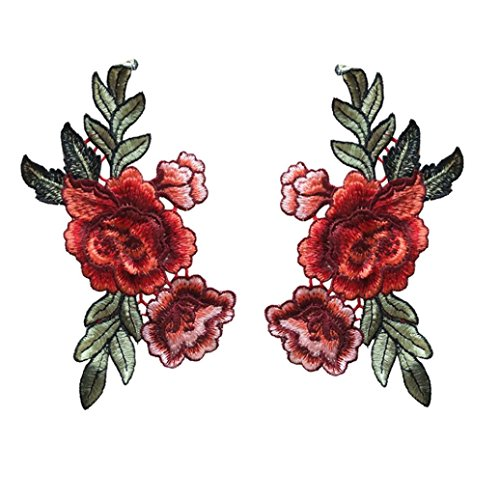 Staron 2PC Roses Floral Collar Sew Patch Applique Badge Sticker DIY Embroidered (Red)