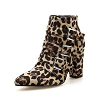 QINGMM Women Pointed Martin Boots 2018 New Charm Leopard Buckle High Heel Ankle Boots