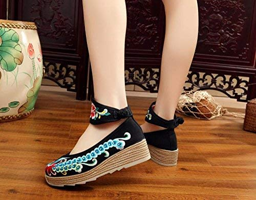 Aumentados De Lino Étnico Negro Eeayyygch 38 Bordados Moda Zapatos Estilo Tendón color Informal Femeninos Tamaño Cómodo Suela wnBnqfEzC