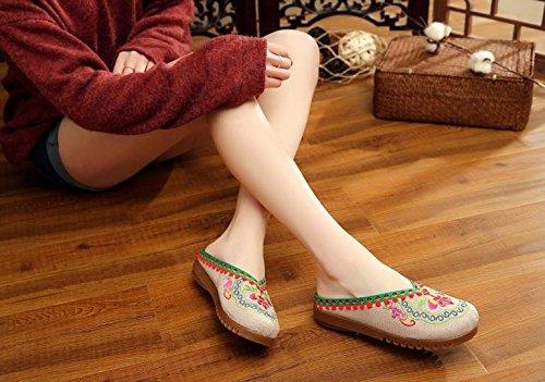 ZLL Gestickte Schuhe, Sehnensohle, ethnischer Stil, weiblicher Flip Flop, Mode, bequeme, lässige Sandalen , red , 36