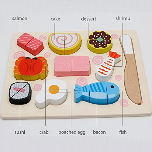GYBBER&MUMU Kitchen Cutting Toy for Kids With 11 Wooden Pieces,Fish