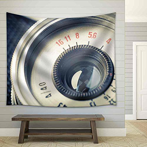 Close Up of Old Camera Vintage Style Fabric Wall Tapestry