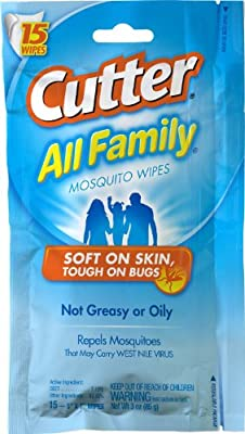 Cutter All Family 15 Count Insect Repellent Mosquito Wipes 7% DEET