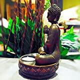 The Seated Buddha Tealight Candle Holder in the Greeting or Namaste Pose, Lotus Base, 7 ½ H x 4 3/8 Inches, Hand Crafted Cast Polyresin, Bronze, From the Serenity Collection, By Whole House Worlds