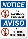 Notice: No Alcoholic Beverages, Aviso No Bebidas Alcoholicas Label, 10'' x 7''