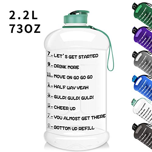 Dishwasher Safe 73OZ/2.2L Big Reusable Sports Water Bottle with Motivational Time Marker Water Jug Container Large Water Canteen BPA Free Leak-proof for Gym Fitness Athletic Outdoor Camping Hiking