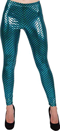 Orlob Leggings Fisch Blau Glanzend Damen Kostum Karneval Fasching Gr