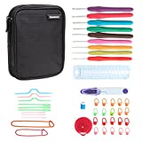 Damero Ergonomic Crochet Hook Set, Knitting Needle Kit With 9pcs 2mm to 6mm Comfortable Rubber Handles Crochets and Complete Accessories, Color Coded, Small Volume and Convenient to Carry, Black