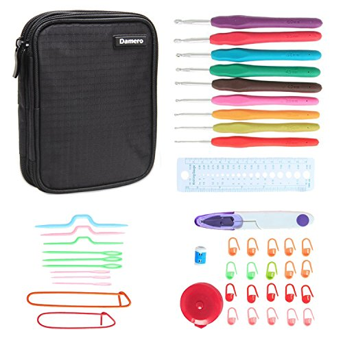 Damero Ergonomic Crochet Hook Set, Knitting Needle Kit With 9pcs 2mm to 6mm Comfortable Rubber Handles Crochets and Complete Accessories, Color Coded, Small Volume and Convenient to Carry, Black by Damero