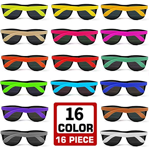 16 Colors Neon Party Sunglasses 16 Pack with Dark Lenses, 80's Style Perfect Colorful Novelty Sun glasses Set For Party Favors, Beach Pool, Outdoor Summer Activity, Goody Bag Fillers  -
