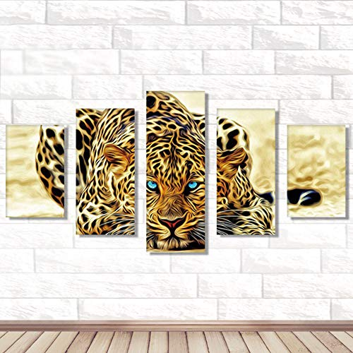 - 5D DIY Diamond Painting Leopard Full Round Decor Cross Stitch for Home Wall Decor Gift(5Ps 95x45cm)