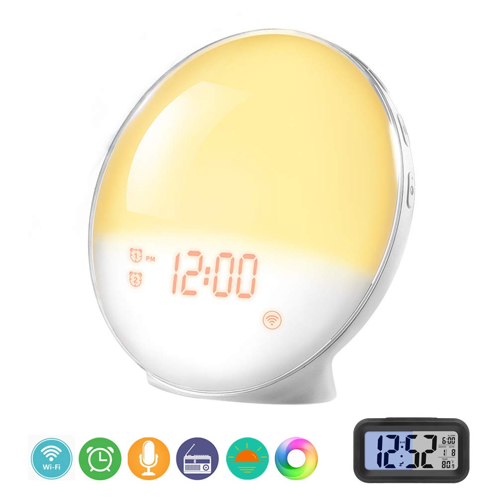 Prismtec Sunrise Alarm Clock, APP Controllable Wake Up Light with 4 Alarms, Nature Sounds, FM Radio, 7 Colors, Snooze Function, Sleep Aid, Night Light, Compatible with Alexa and Google Home
