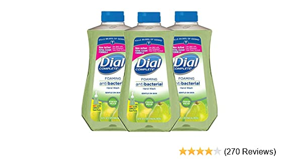 Dial Complete Antibacterial Foaming Hand Soap Refill, Fresh Pear, 32 Fluid Ounces (Pack of 3)