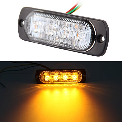 2W Emergency Amber Led Strobe Light, Universal Ultra Slim 4 Led Car Truck Led Flashing Warning Caution Light, Emergency Construction Strobe Light Bar by Foxstar, 1pc