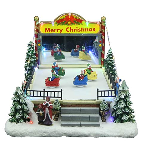 Top Treasures Snow Village Bumper Cars | Lighted Christmas Village with Moving Bumper Cars | Perfect Addition to Your Christmas Indoor Decorations & Holiday Displays (Villages Real Christmas)