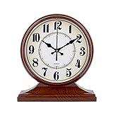 HAOFAY clock - European Vintage Retro Mantel/Antique Old Quartz Clock Antique Living Room Desk And Shelf Clock Decoration (Color : Wood grain)