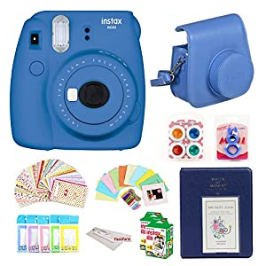 Fujifilm Instax Mini 9 Instant Fuji Camera + Case + Instant Mini 9 Film 40 Pack + instax Picture Frame + instax Magnet Frame + 20 Border Stickers +Free Cleaning Cloth