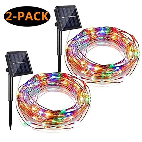 Solar String Lights, 2 Pack 100 LED Solar Fairy Lights 33 ft 8 Modes Copper Wire Lights Waterproof Outdoor String Lights for Garden Patio Gate Yard Party Wedding (Multicolor)