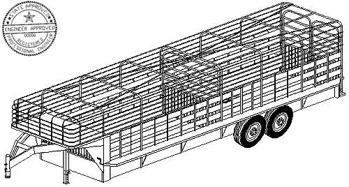 6' x 24' Livestock Trailer Plans Blueprints, Model 3224