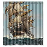 PILZOO Width X Height / 72 X 72 Inches / W H 180 By 180 Cm Navigation Voyage Seafaring Navigate Sailing Boat Ship Vessel Jalor Art Painting Bath Curtains Polyester Fabric Ornament And Gi