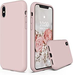 SURPHY Silicone Case Compatible with iPhone Xs Case iPhone X Case 5.8 inches, Liquid Silicone Phone Case (with Microfiber Lining) for iPhone Xs 2018 / iPhone X 2017 (Baby Pink)