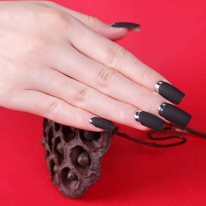 Mobray - Juego de 24 uñas postizas, color negro y rojo ...