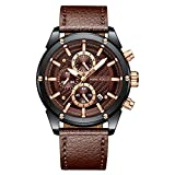 MINI FOCUS Fashion Watch Men's Sport Waterproof Watch with Leather Strap Calendar Date Watches Business Quartz Wrist Watch for Men (Brown)