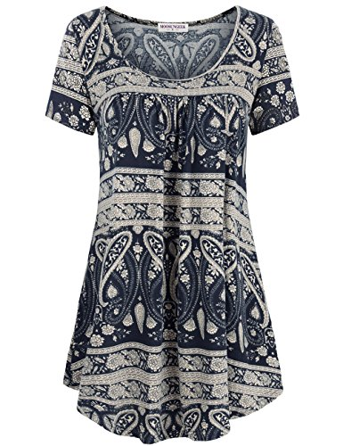 Moosungeek Blouses For Women  Womens Flared Comfy Loose Fit Tunic Top Blue Flower S