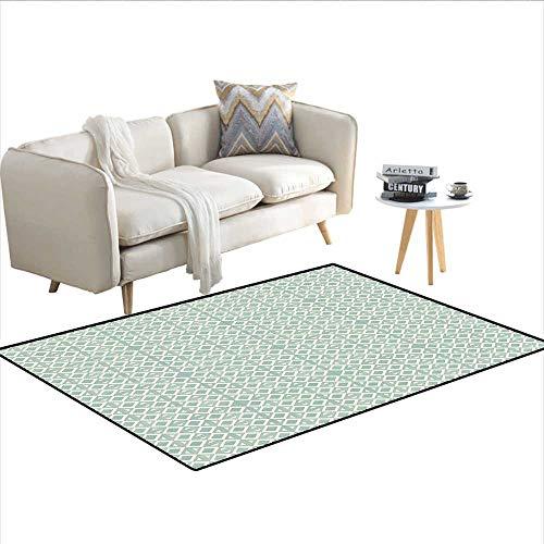Carpet,Retro Squares Pattern Minimalist Design Diagonal Authentic Artsy Figures,Outdoor Rug,Turquoise Cream 36