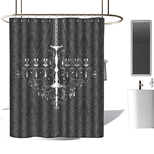Boston Glass Chandelier - homehot Shower Curtains Fabric Beach Vintage,Victorian Baroque Stylized Nostalgic Chandelier on Damask Background Rococo Design,Grey White,W72 x L72,Shower Curtain for Men