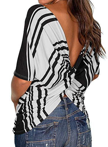 MIHOLL Women's Casual T Shirts Twist Knot Tunics Tops (Black, Large)
