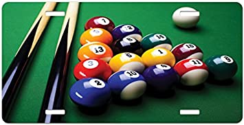 Billiard Pool Balls Arrangement Snooker Contest Beginning Entertainment Game Print Lunarable Manly License Plate High Gloss Aluminum Novelty Plate 5.88 X 11.88 Multicolor