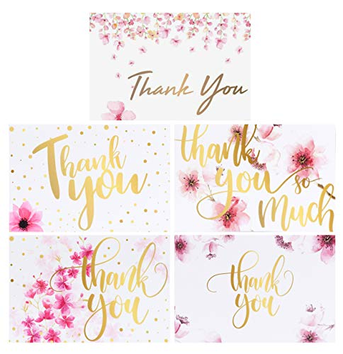 100 Bulk Thank You Cards with Envelopes, Floral Flower Thank You Notes, Greeting Cards for Wedding, Baby Shower, Bridal Shower, Anniversary, 5 Design 4 x 6 inch Blank (Baby Thank Yous)