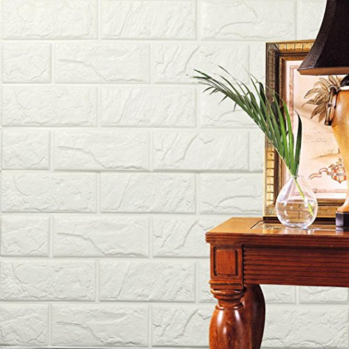 Price comparison product image 2018 New Wall Decals, Jushye PE Foam 3D Wallpaper DIY Wall Stickers Wall Decor Embossed Brick Stone (White 2)
