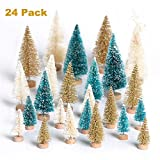 DOOLLAND Mini Christmas Tree 24Pcs, Small Bottle Brush Sisal Tree Artificial Santa Snow Frost Tabletop Trees for Village House Desktop Decor DIY Craft Festival Decoration Gifts