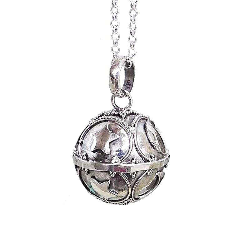 20mm Moon and Stars Harmony Ball Pendant Necklace LS87N aka Mexican Bola