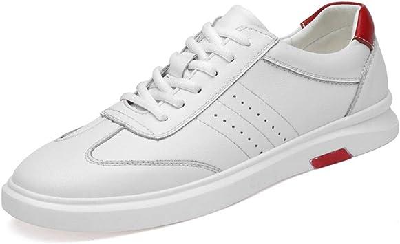 BBTK Zapatos De Tabla Zapatillas De Deporte Hombres Correr Patinaje Atar para Arriba Genuino Cuero Caminar Al Aire Libre Deportes Atléticos (Color : Blanco, tamaño : 42 EU): Amazon.es: Jardín