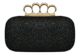 Chicastic Glitter Metallic Duster Four Ring Knuckle Clutch Evening Purse With Rhinestones - Black