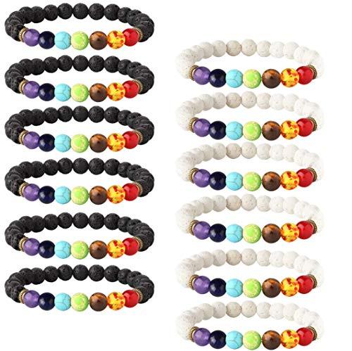 LOLIAS 12 Pack Bead Gemstone Bracelet for Men Women Natural Stone Diffuser Bracelet Stretch Yoga Bracelets (D:12 Pcs Lava Stone)