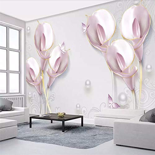 Wall Mural 3D Wallpaper Embossed Calla Lily Modern Living Room Bedroom Tv Wall Decor