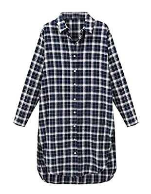 ZSN Womens Plus Size Plaid Button Front Long Sleeve Casual Shirt Dress