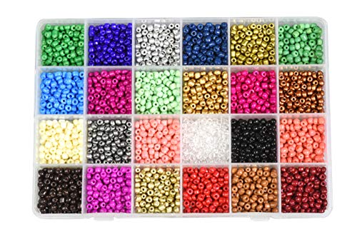 Mandala Crafts Glass Seed Beads, Small Pony Beads Assorted Kit with Organizer Box for Jewelry Making, Beading, Crafting (Round 4X3.4MM 6/0, 24 Assorted Multicolor Set Combo 1)