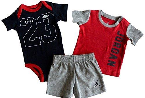 Boys' 3 Pc Short Sleeve Bodysuit, T-Shirt, & Shorts Set (6/9M, Dark Grey Heather) (Baby T-shirt Bodysuit Short)